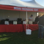 Setting up for the Escape from Alcatraz Triathlon.  Everyone gets a medal engraved courtesy of the race!!!